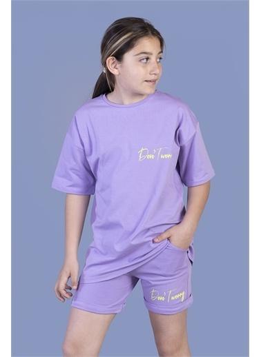 Toontoy Kids Toontoy Kız Çocuk Baskılı Taş İşlemeli Şortlu Takım Lila
